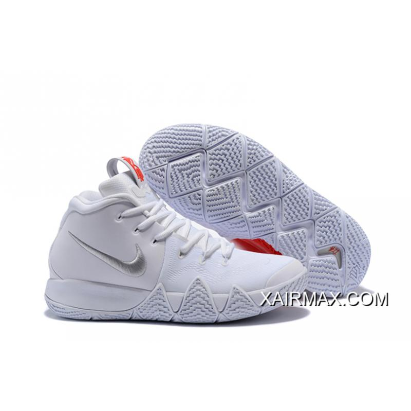 "best service 69f68 fd6fb Outlet Nike Kyrie 4 ""Half Heart"" White Silver Red"