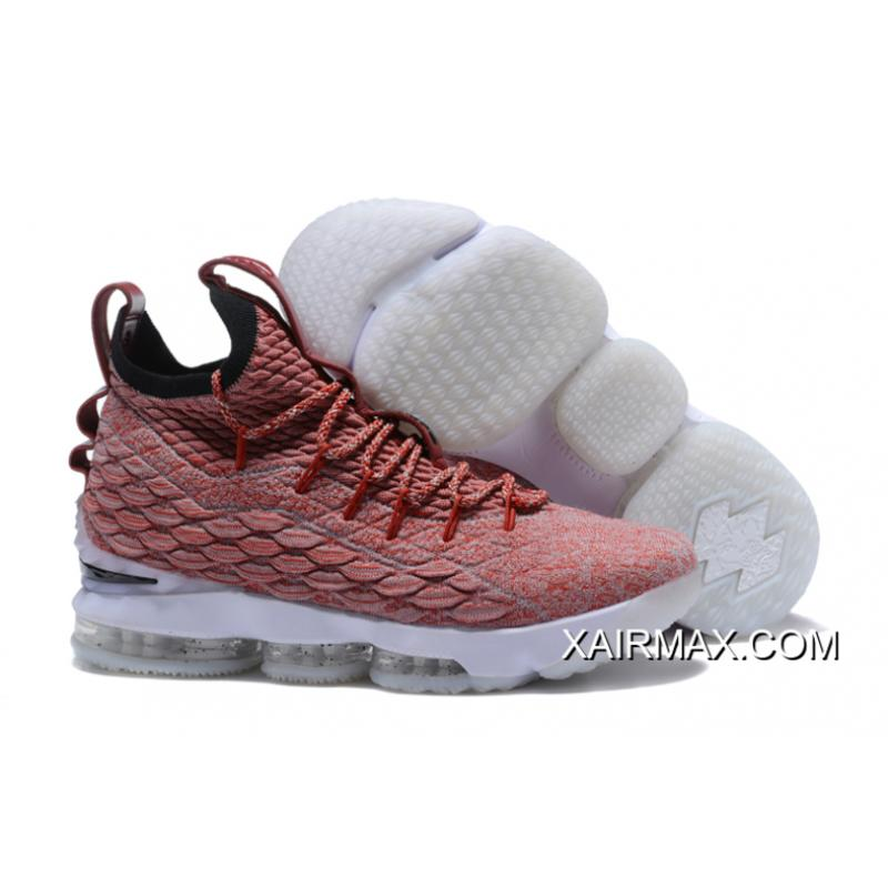 737d91daa98 New Release Nike LeBron 15 Red Flyknit White Basketball Shoes ...