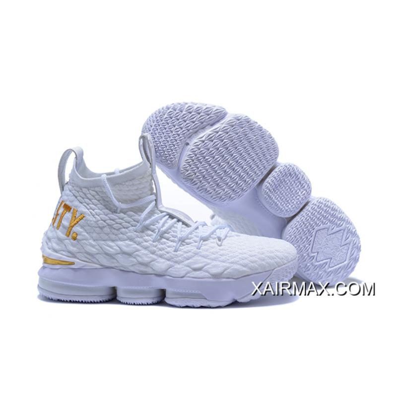 516d15de1e2 For Sale Nike LeBron 15  Equality  PE White And Metallic Gold ...